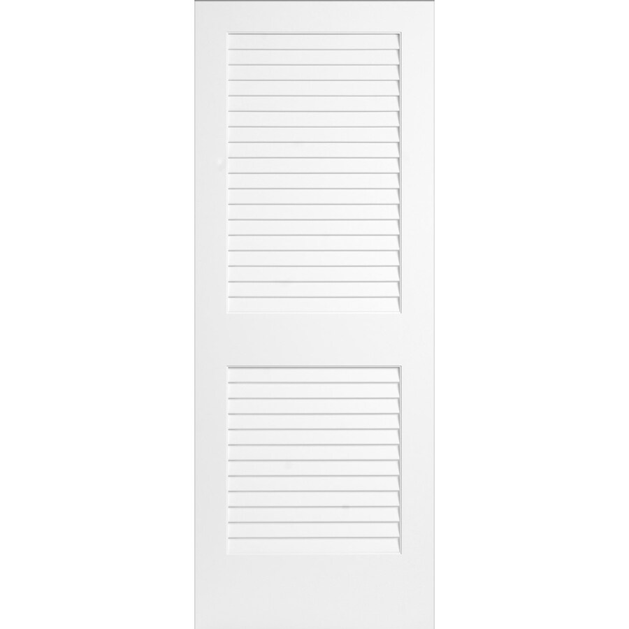 ReliaBilt White Plantation Louver Pine Slab Interior Door (Common: 32-in x 80-in; Actual: 32-in x 80-in)