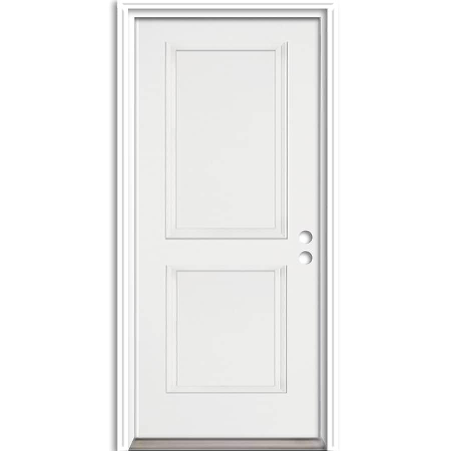 ReliaBilt 2-Panel Insulating Core Left-Hand Inswing Fiberglass Unfinished Prehung Entry Door (Common: 36-in x 80-in; Actual: 37.5-in x 81.625-in)