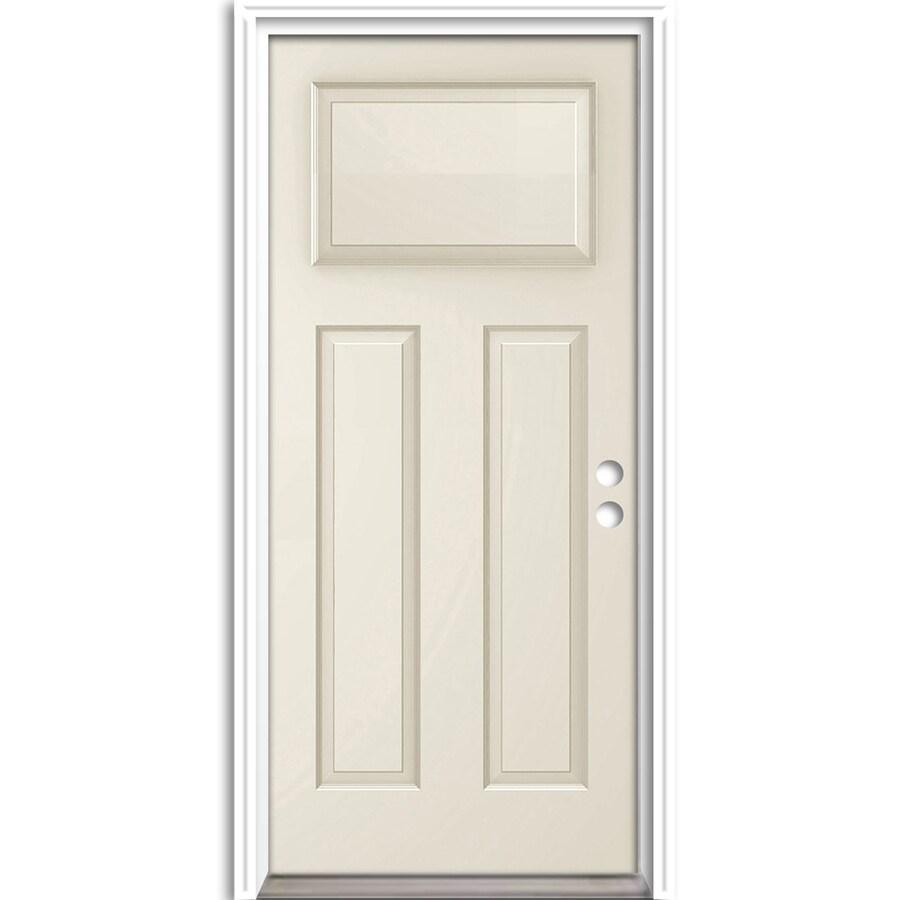 ReliaBilt Craftsman Insulating Core Left-Hand Inswing Steel Primed Prehung Entry Door (Common: 36-in x 80-in; Actual: 37.5-in x 81.625-in)