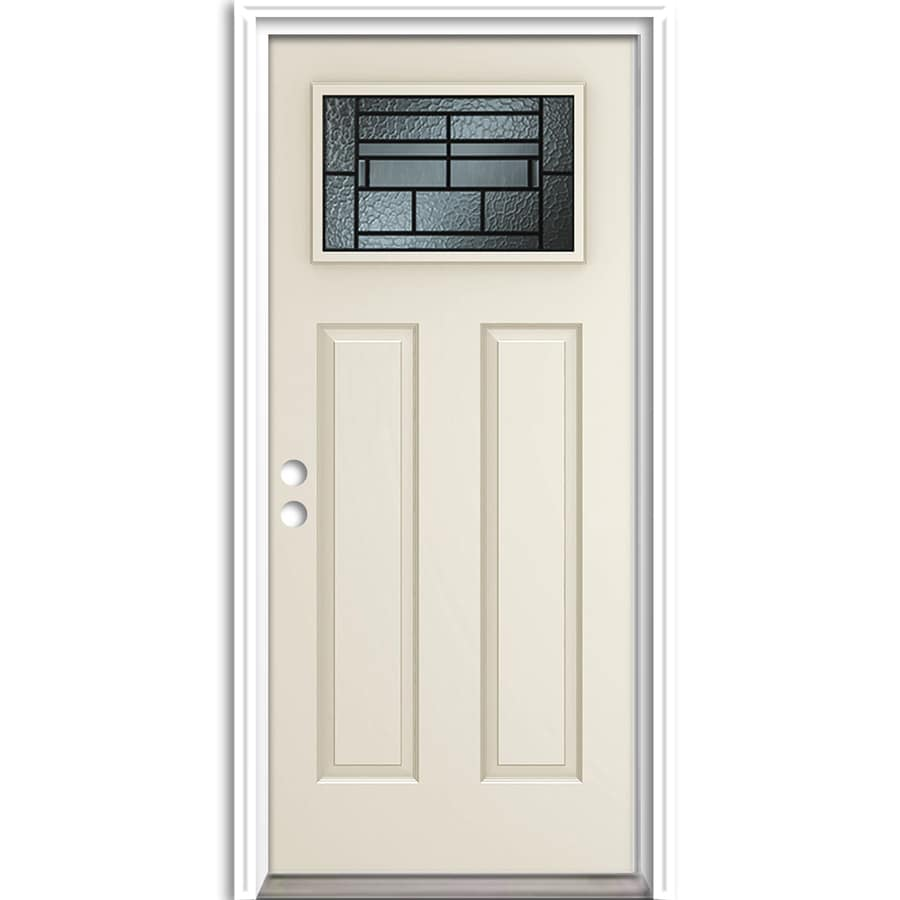 ReliaBilt French Insulating Core Craftsman 1-Lite Right-Hand Inswing Steel Primed Prehung Entry Door (Common: 36-in x 80-in; Actual: 37.5-in x 81.625-in)