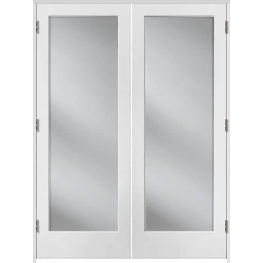 ReliaBilt Prehung Solid Core 1-Lite Clear Glass Interior Door (Common: 48-in x 80-in; Actual: 49.375-in x 81.312-in)