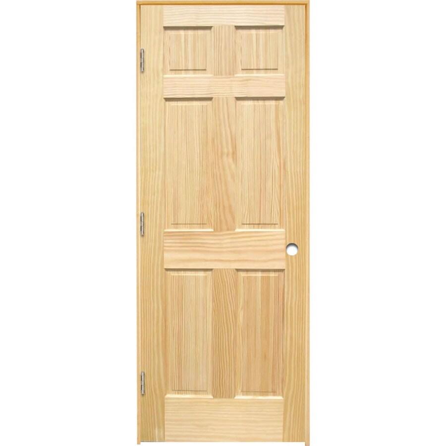 ReliaBilt Prehung Solid Core 6-Panel Pine Interior Door (Common: 32-in x 80-in; Actual: 33.375-in x 81.312-in)