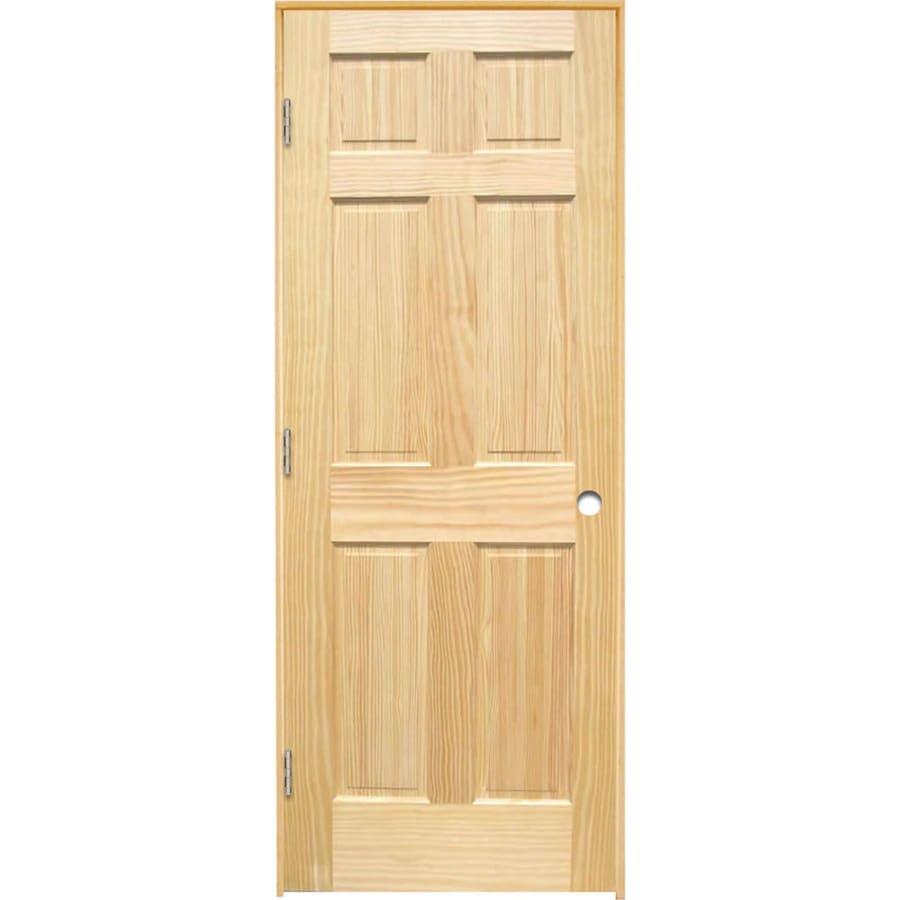 ReliaBilt Prehung Solid Core 6-Panel Pine Interior Door (Common: 36-in x 80-in; Actual: 37.375-in x 81.312-in)