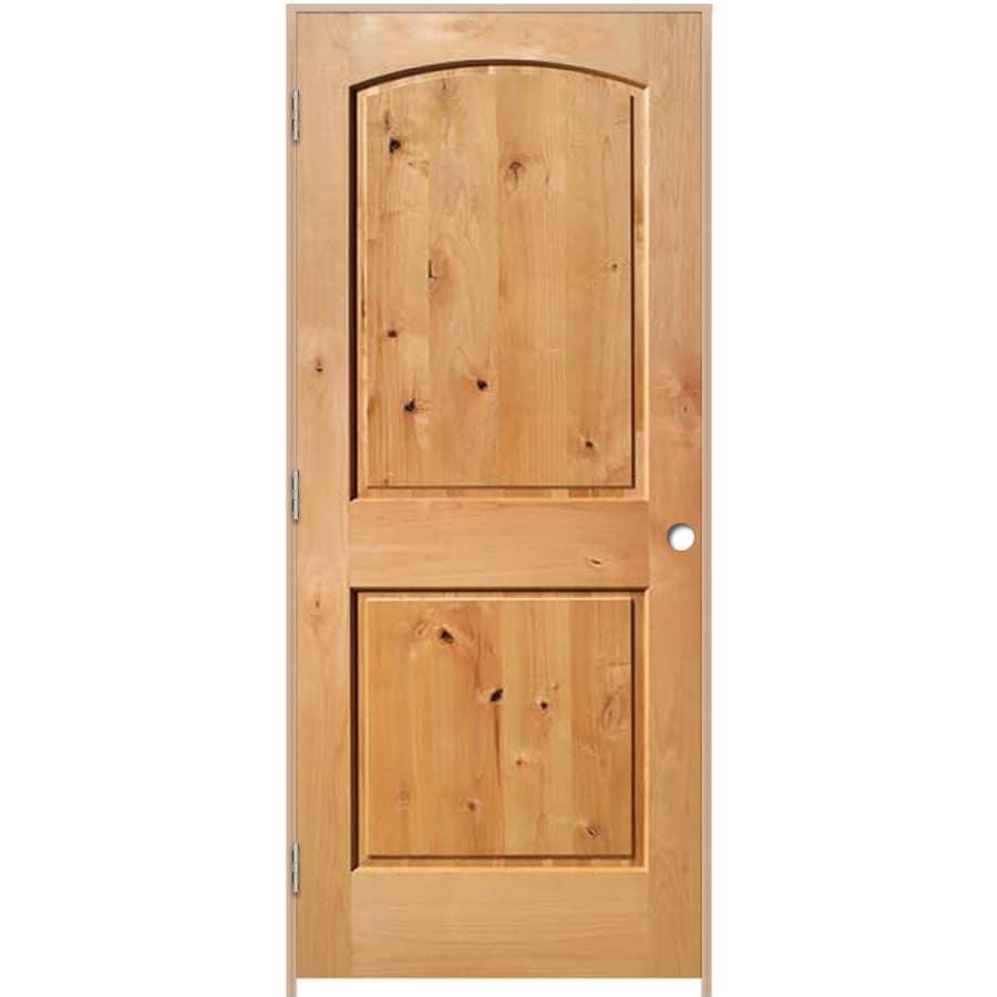 ReliaBilt Prehung Solid Core 2-Panel Round Top Knotty Alder Interior Door (Common: 24-in x 80-in; Actual: 25.375-in x 81.187-in)