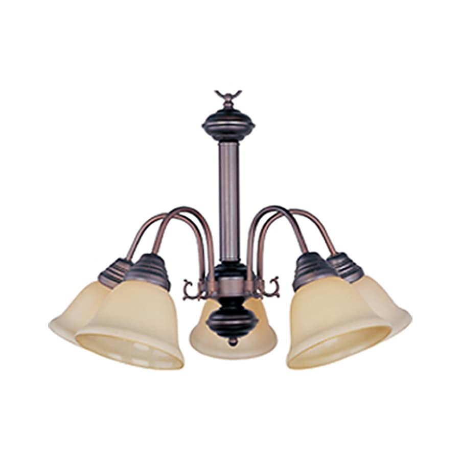 Pyramid Creations Malibu 24-in 5-Light Oil-Rubbed Bronze Tinted Glass Standard Chandelier