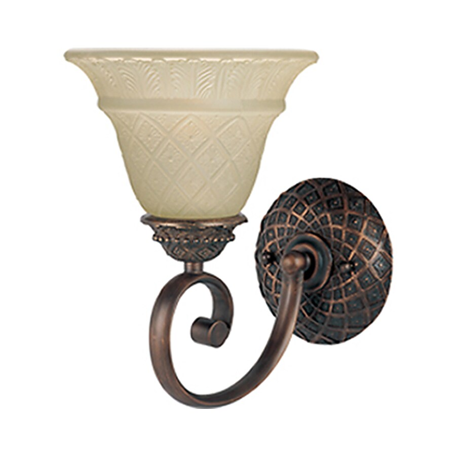 Pyramid Creations Brighton 10-in W 1-Light Bronze Arm Hardwired Wall Sconce