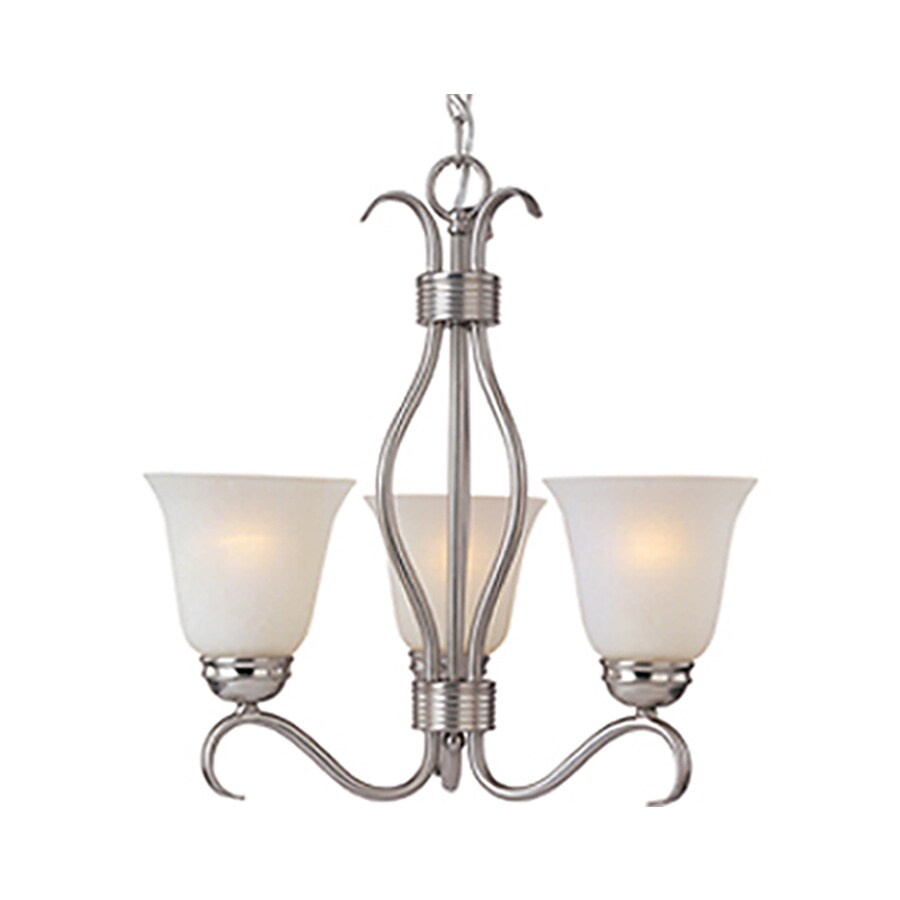 Pyramid Creations Basix 19-in 3-Light Satin Nickel Standard Chandelier