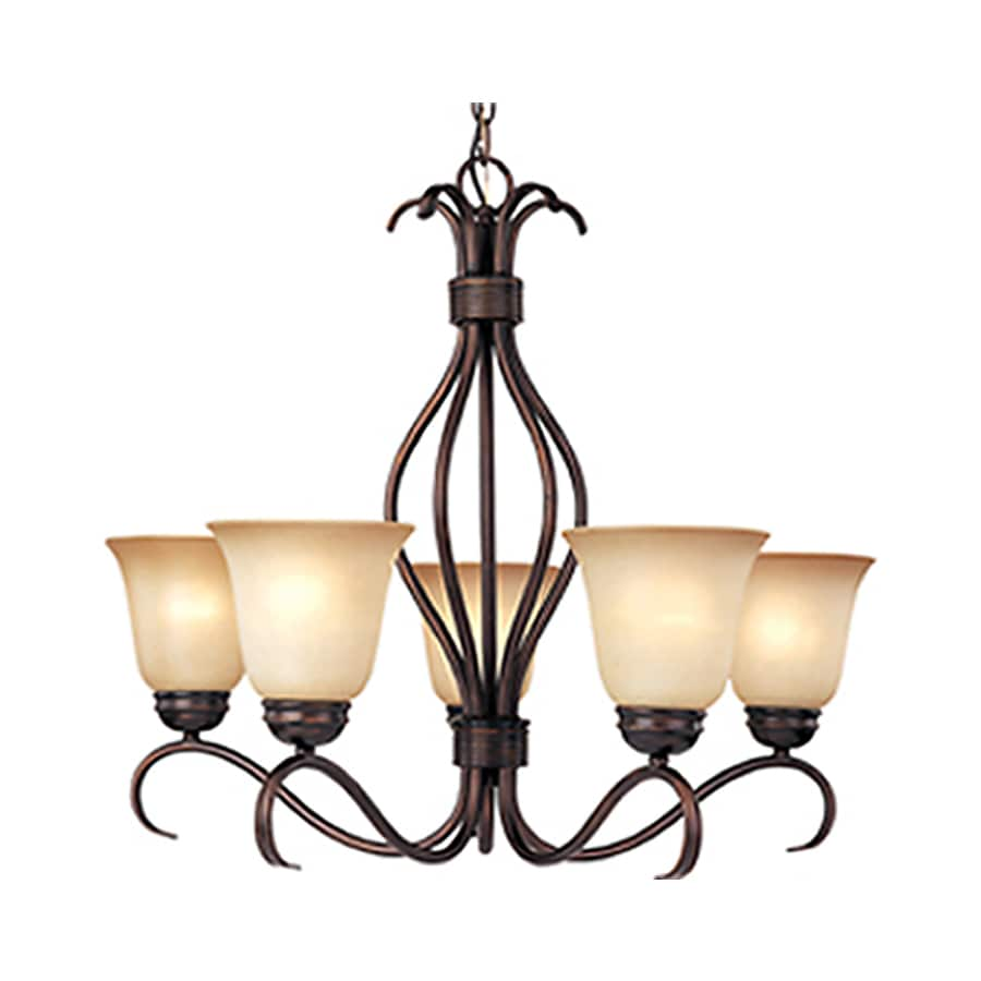 Pyramid Creations Basix 26-in 5-Light Oil-Rubbed Bronze Tinted Glass Standard Chandelier