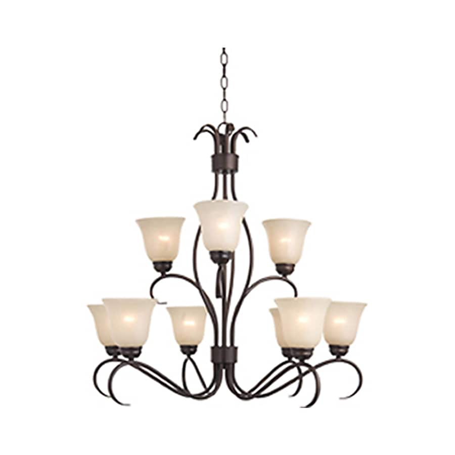 Pyramid Creations Basix Ee 32-in 9-Light Oil-Rubbed Bronze Standard Chandelier