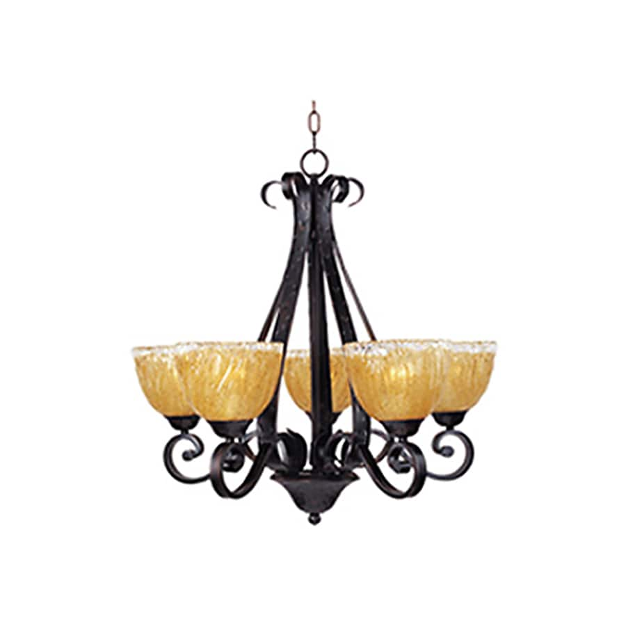 Pyramid Creations Barcelona 26.5-in 5-Light Oil-Rubbed Bronze Tinted Glass Standard Chandelier