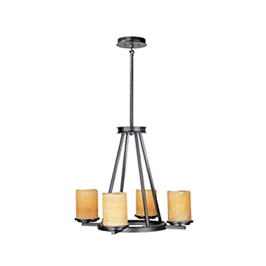 Pyramid Creations Luminous 24-in 4-Light Rustic Ebony Tinted Glass Standard Chandelier