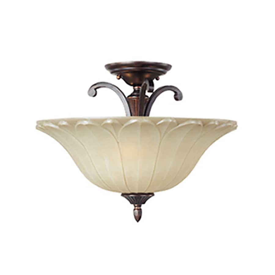 Pyramid Creations Allentown 18-in W Oil-Rubbed Bronze Frosted Glass Semi-Flush Mount Light