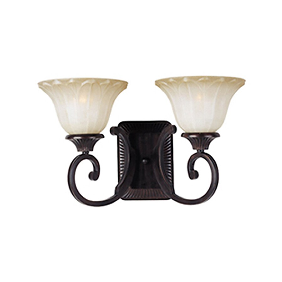 Pyramid Creations Allentown 17-in W 2-Light Bronze Arm Hardwired Wall Sconce
