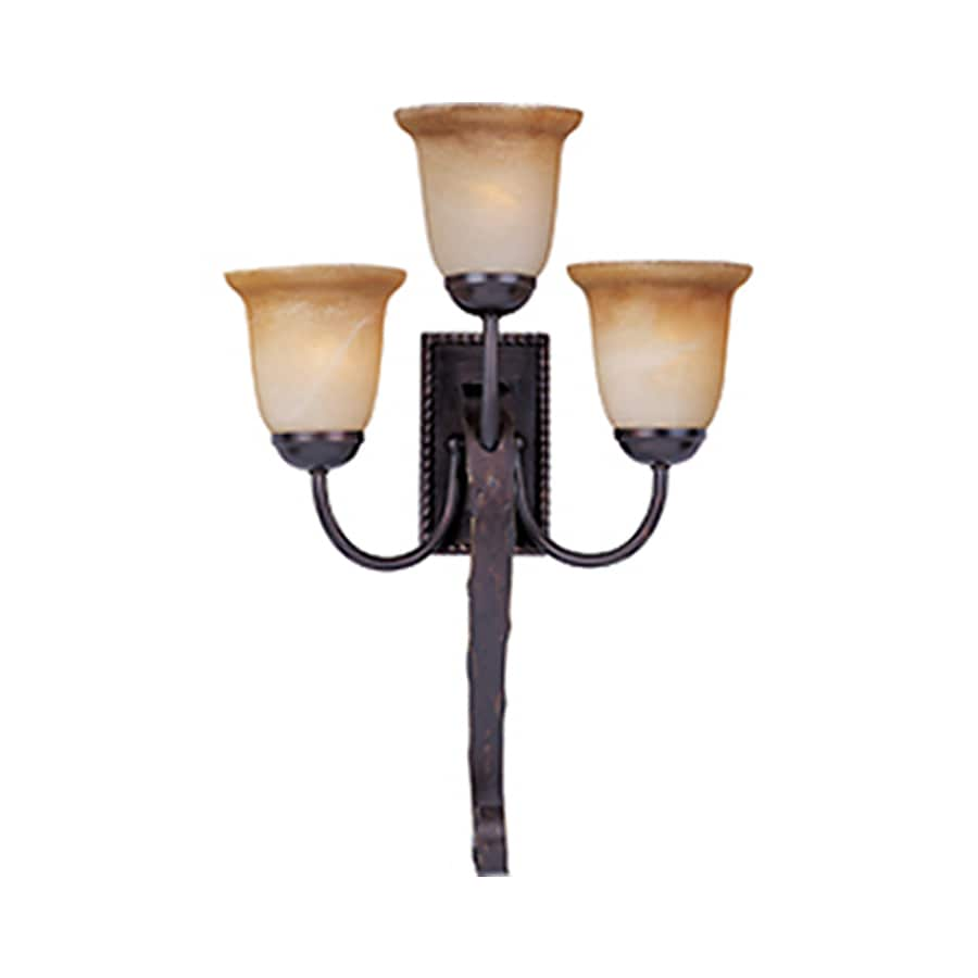 Pyramid Creations Aspen 16.5-in W 3-Light Bronze Arm Hardwired Wall Sconce
