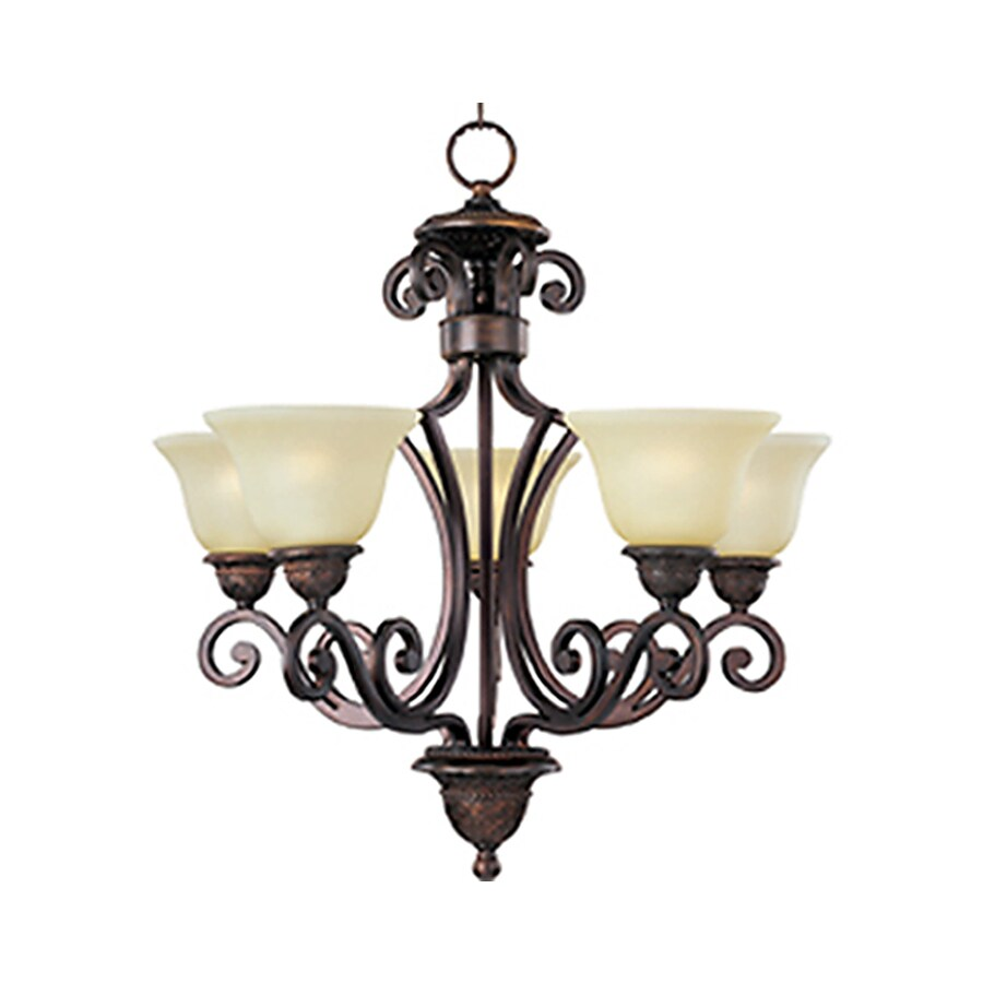 Pyramid Creations Symphony 26-in 5-Light Oil-Rubbed Bronze Tinted Glass Standard Chandelier