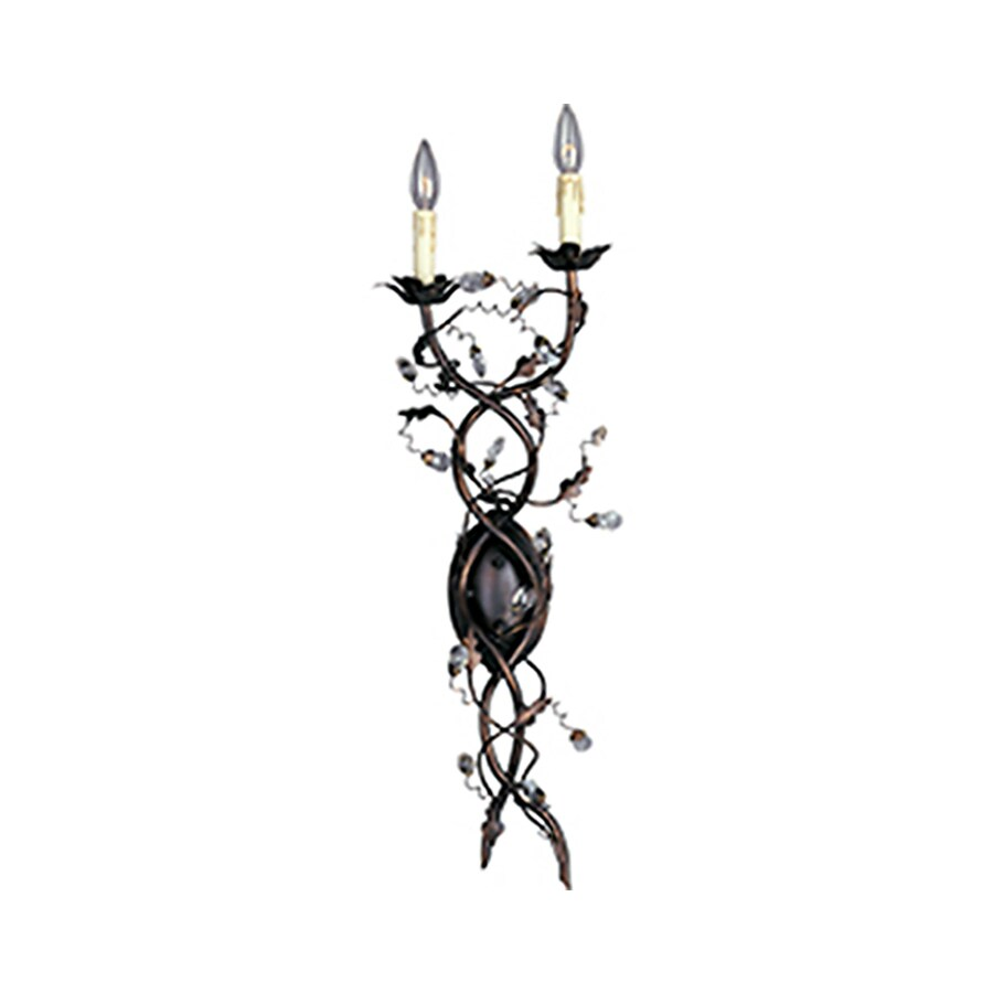 Pyramid Creations Elegante 11-in W 2-Light Bronze Arm Hardwired Wall Sconce