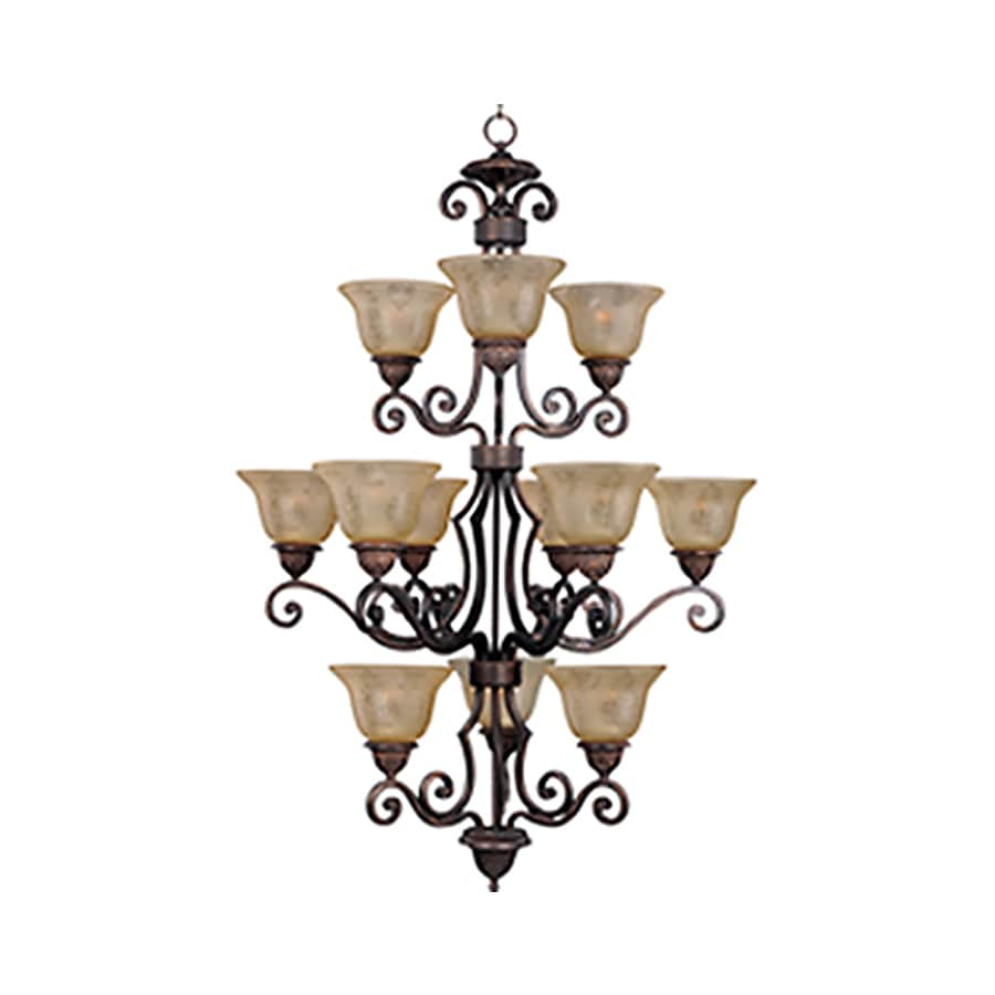 Pyramid Creations Symphony 30-in 12-Light Oil-Rubbed Bronze Tinted Glass Standard Chandelier