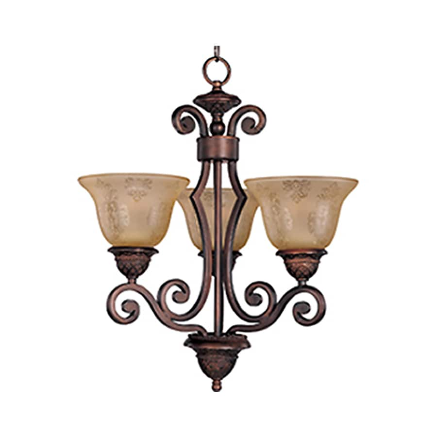 Pyramid Creations Symphony 19-in 3-Light Oil-Rubbed Bronze Tinted Glass Standard Chandelier