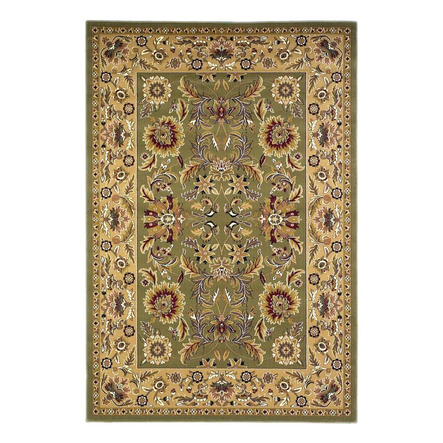 KAS Rugs Kashan Green Rectangular Indoor Woven Oriental Area Rug (Common: 8 x 11; Actual: 91-in W x 130-in L)