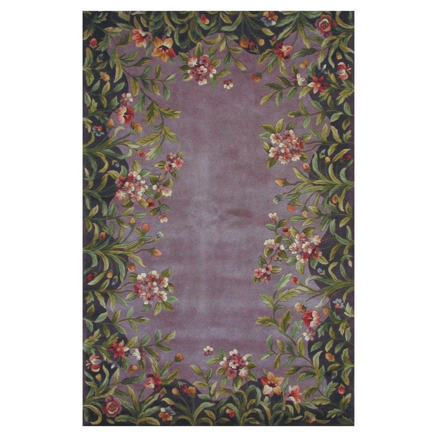 KAS Rugs Far East Gem Lavender Rectangular Indoor Tufted Throw Rug (Common: 2 x 3; Actual: 24-in W x 36-in L)
