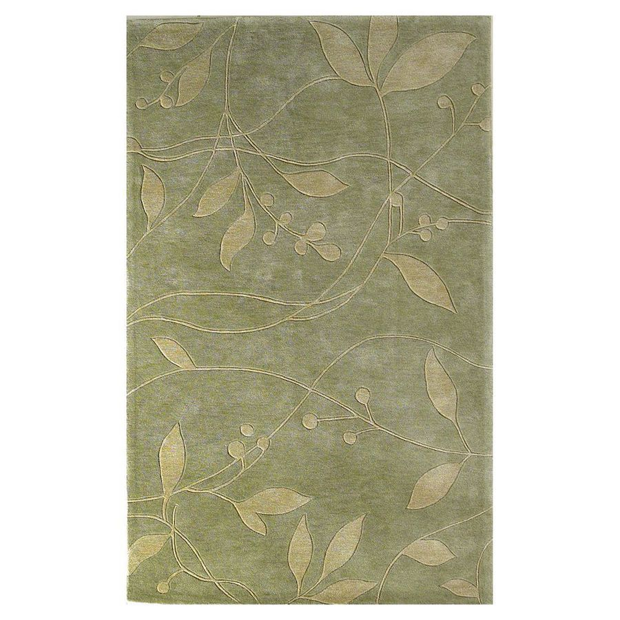 KAS Rugs Elegant Transitions Green Rectangular Indoor Tufted Throw Rug (Common: 3 x 5; Actual: 39-in W x 63-in L)