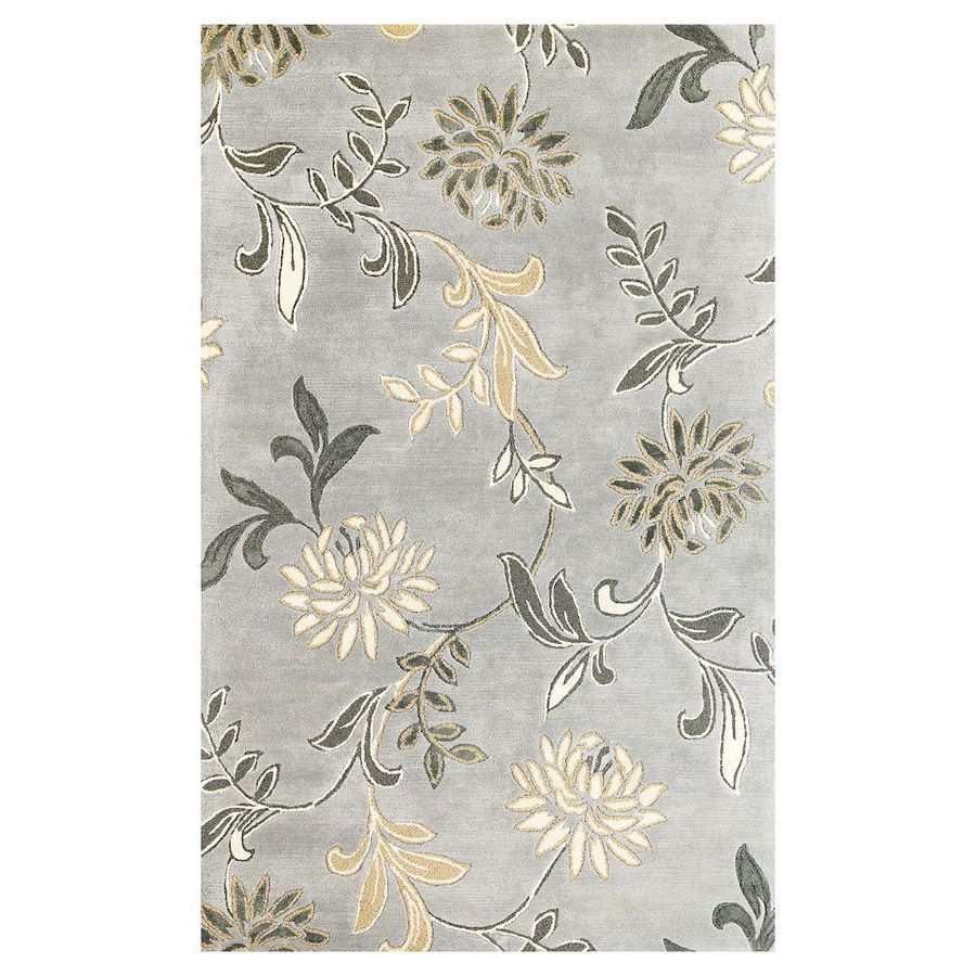 KAS Rugs Florentine Gray Rectangular Indoor Tufted Area Rug (Common: 5 x 8; Actual: 60-in W x 96-in L)