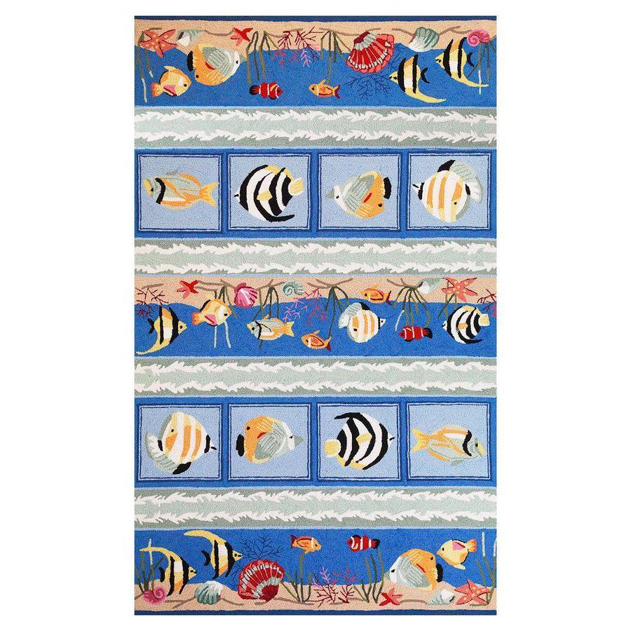 KAS Rugs Flirty Trends Blue Rectangular Indoor Hand-Hooked Coastal Throw Rug (Common: 2 x 3; Actual: 20-in W x 30-in L)