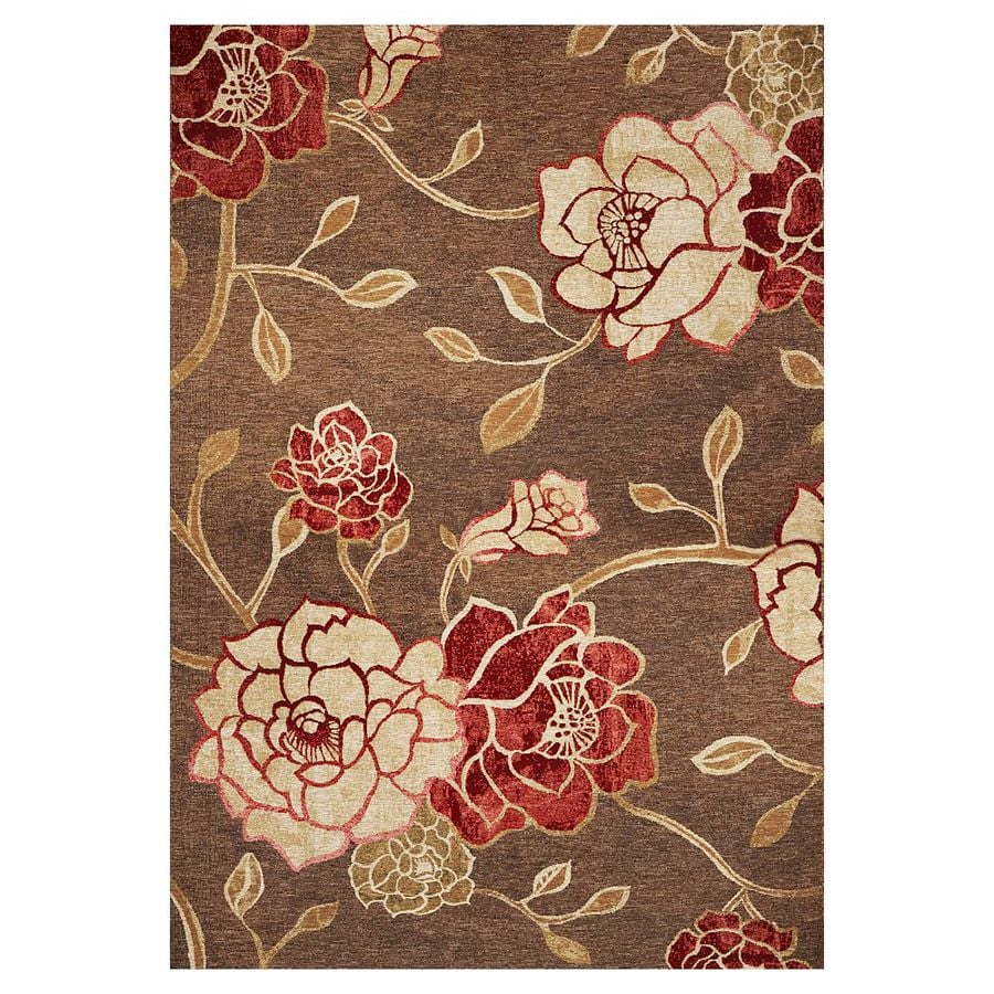 KAS Rugs Serenity Brown Rectangular Indoor Outdoor Woven Area Rug (Common: 5 x 8; Actual: 63-in W x 91-in L)