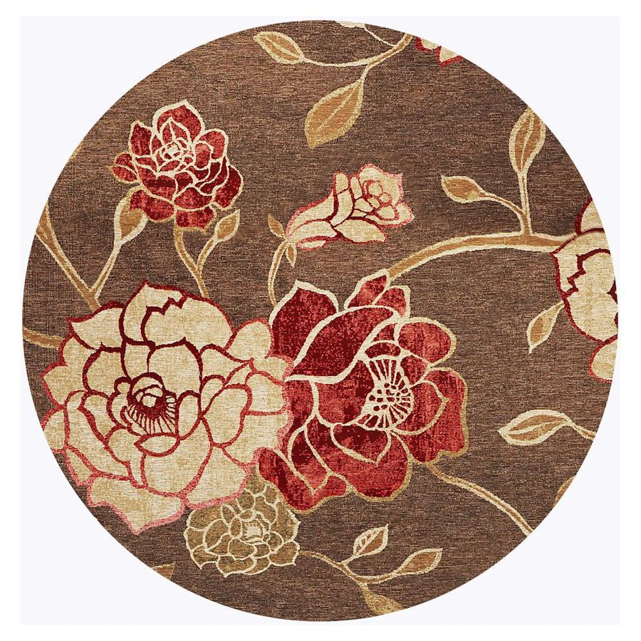 KAS Rugs Serenity Brown Round Indoor Outdoor Woven Area Rug (Common: 7 x 7; Actual: 81-in W x 81-in L)
