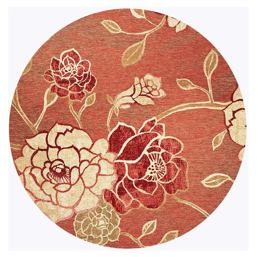 KAS Rugs Serenity Red Round Indoor Outdoor Woven Area Rug (Common: 7 x 7; Actual: 81-in W x 81-in L)