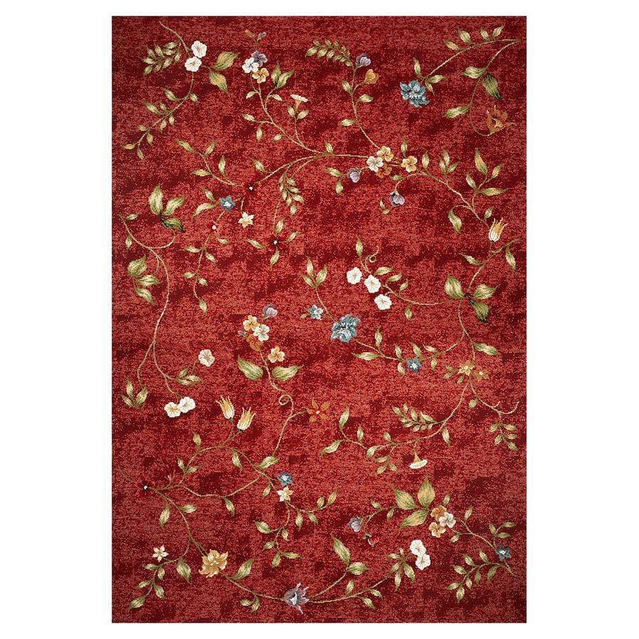 Shop kas rugs serenity red rectangular indoor outdoor for Woven vinyl outdoor rugs