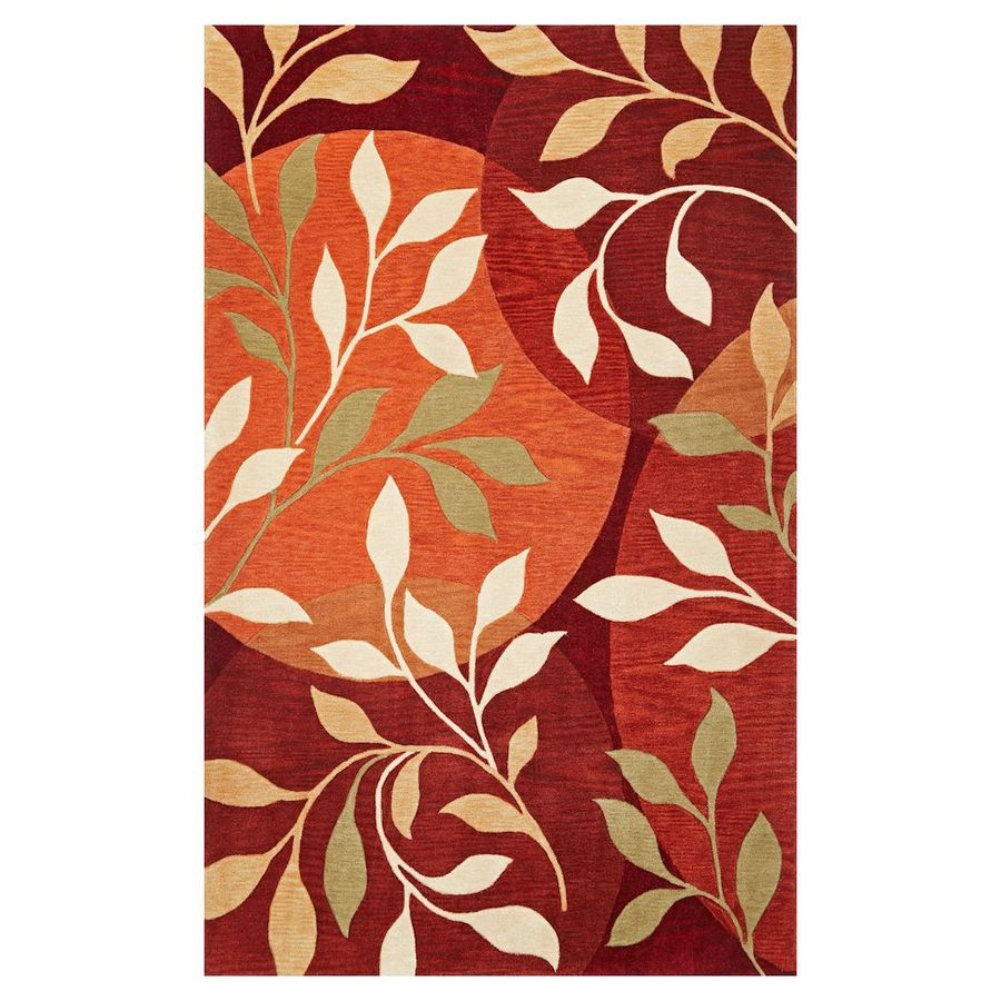 KAS Rugs Elegant Transitions Orange Rectangular Indoor Tufted Area Rug (Common: 8 x 10; Actual: 96-in W x 120-in L)
