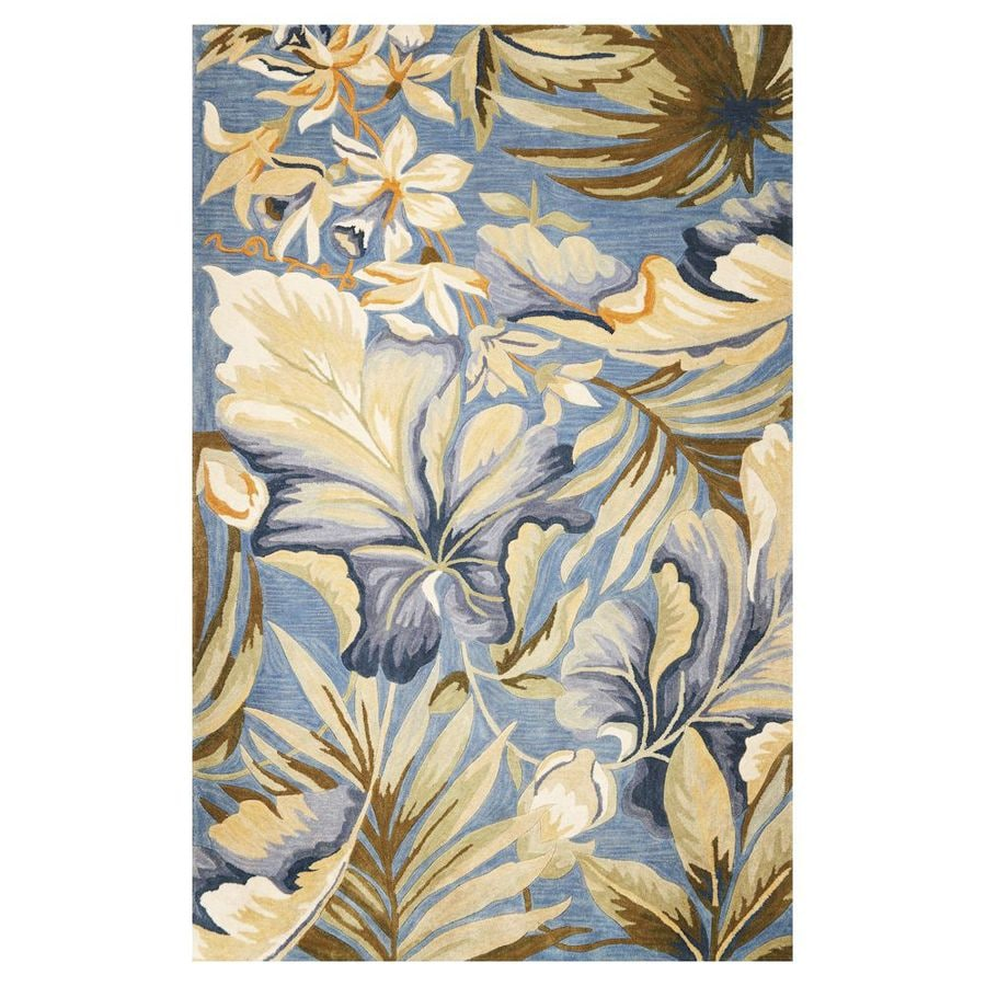 KAS Rugs Floral Trends Blue Rectangular Indoor Tufted Coastal Area Rug (Common: 5 x 8; Actual: 63-in W x 99-in L)