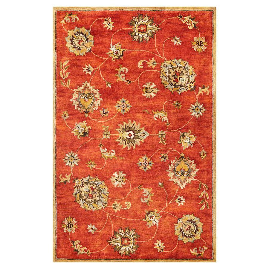 KAS Rugs Tapestry Today Orange Rectangular Indoor Tufted Oriental Area Rug (Common: 8 x 11; Actual: 96-in W x 126-in L)