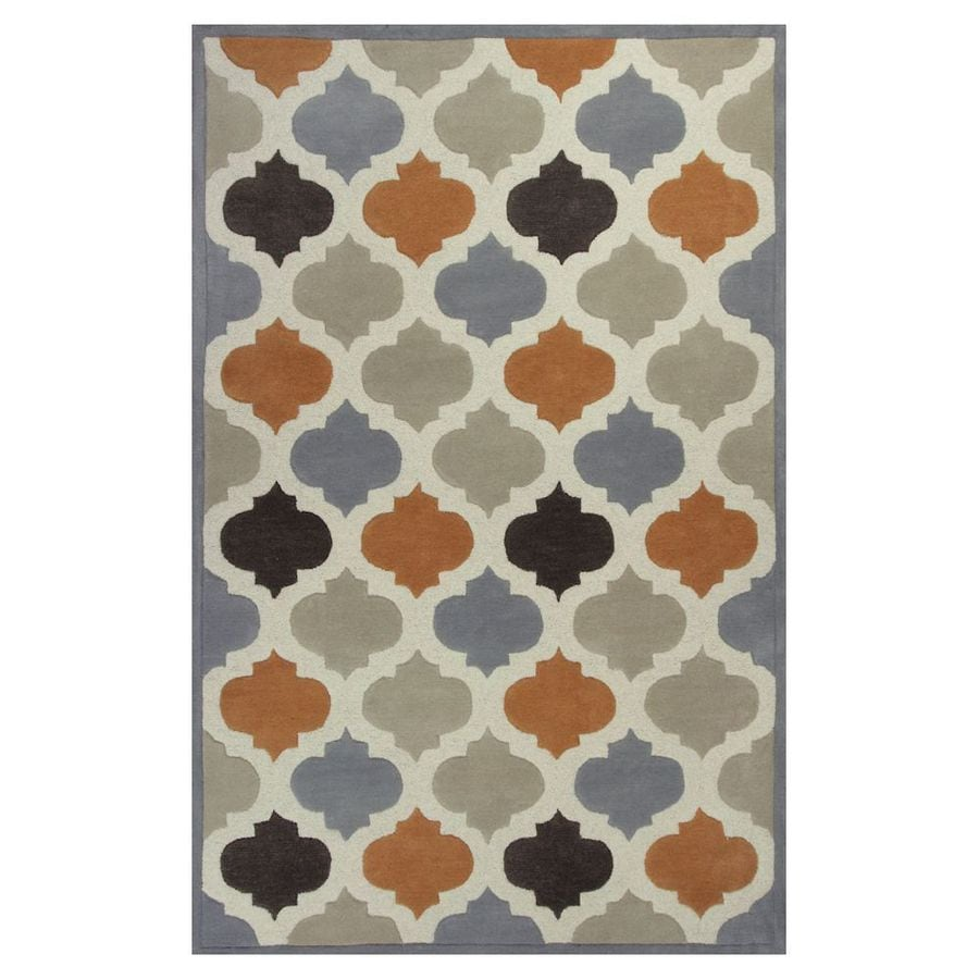 KAS Rugs Textures Of Life Gray Rectangular Indoor Tufted Throw Rug (Common: 3 x 5; Actual: 39-in W x 63-in L x 0-ft Dia)