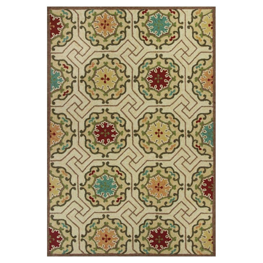 KAS Rugs Casual Living Ivory Rectangular Indoor/Outdoor Hand-Hooked Moroccan Area Rug (Common: 5 x 8; Actual: 60-in W x 90-in L x 0-ft Dia)