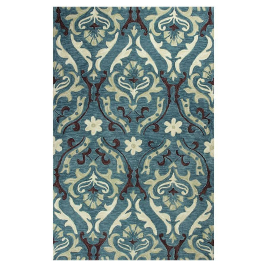 KAS Rugs Textured Fashion Blue Rectangular Indoor Tufted Area Rug (Common: 5 x 8; Actual: 60-in W x 90-in L x 0-ft Dia)