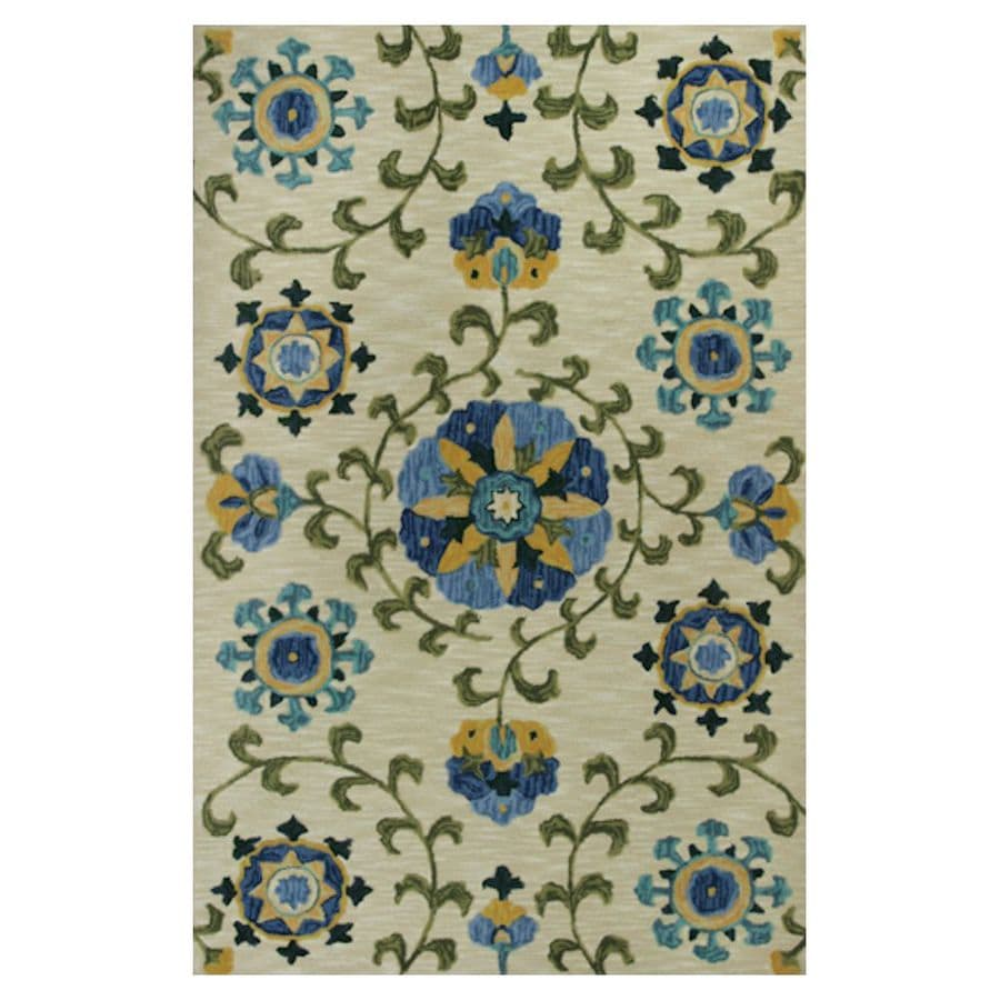 KAS Rugs Textured Fashion Ivory Rectangular Indoor Tufted Area Rug (Common: 8 x 10; Actual: 93-in W x 117-in L x 0-ft Dia)