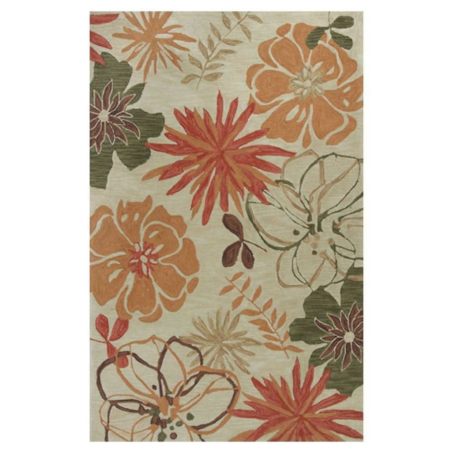 KAS Rugs Textured Fashion Orange Rectangular Indoor Tufted Area Rug (Common: 8 x 10; Actual: 93-in W x 117-in L x 0-ft Dia)
