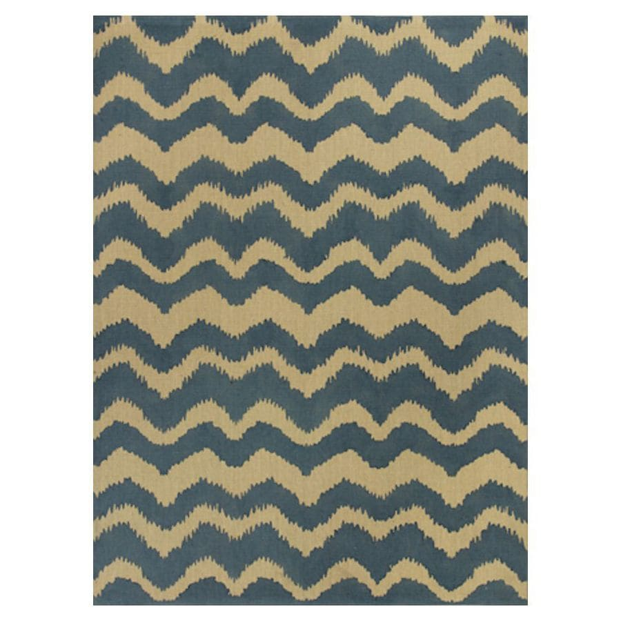 KAS Rugs Natures Best Blue Rectangular Indoor Woven Nature Area Rug (Common: 7 x 10; Actual: 78-in W x 114-in L x 0-ft Dia)