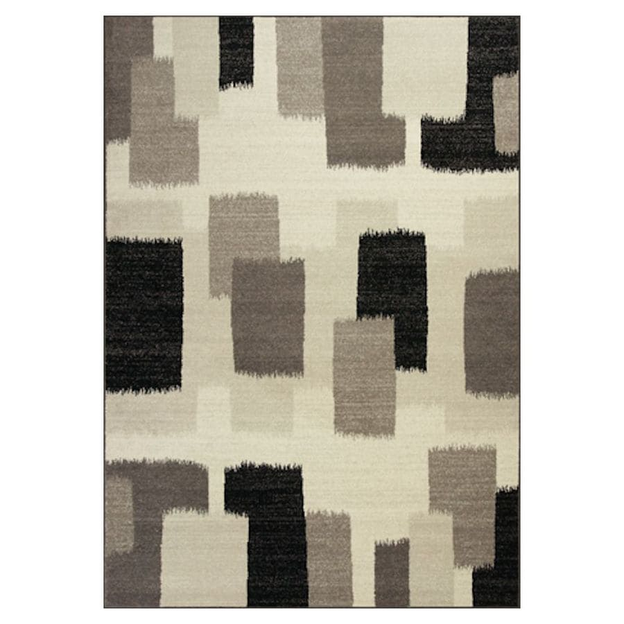 KAS Rugs Gorgeous Transitions Black Rectangular Indoor Woven Distressed Area Rug (Common: 5 x 8; Actual: 63-in W x 91-in L x 0-ft Dia)