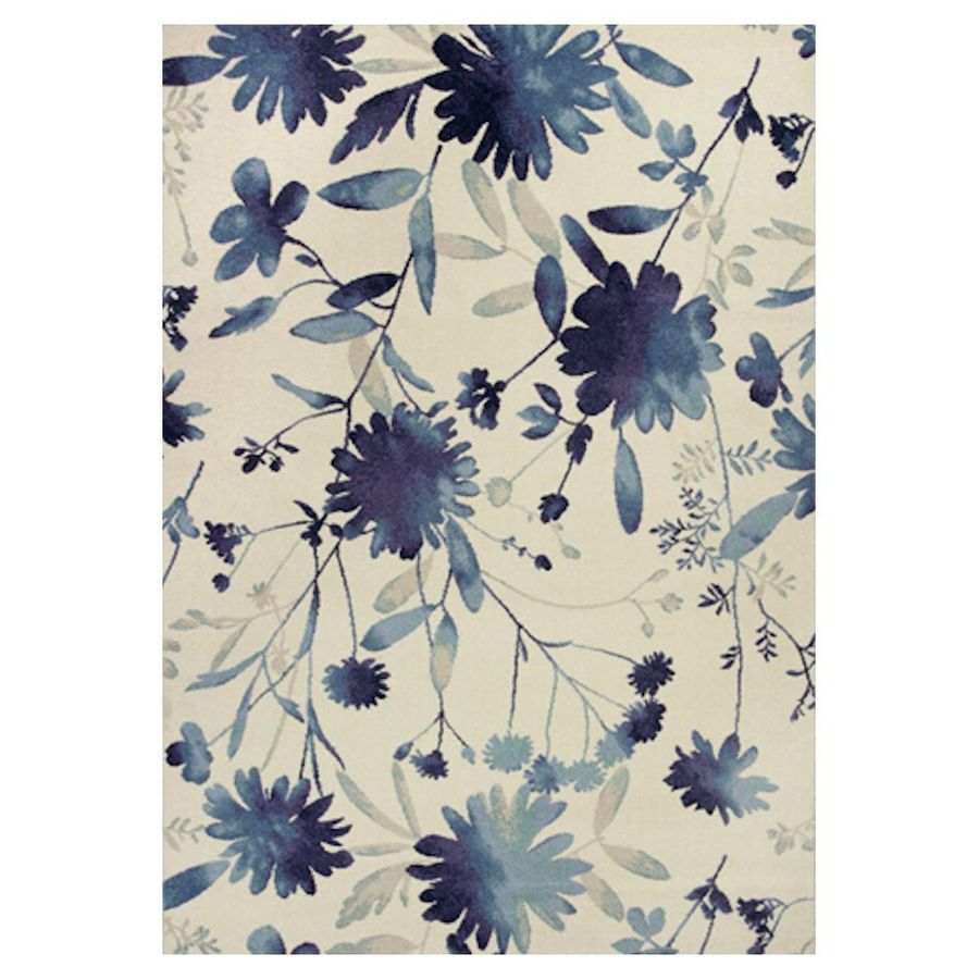 KAS Rugs Gorgeous Transitions Blue Rectangular Indoor Woven Distressed Area Rug (Common: 7 x 10; Actual: 79-in W x 114-in L x 0-ft Dia)
