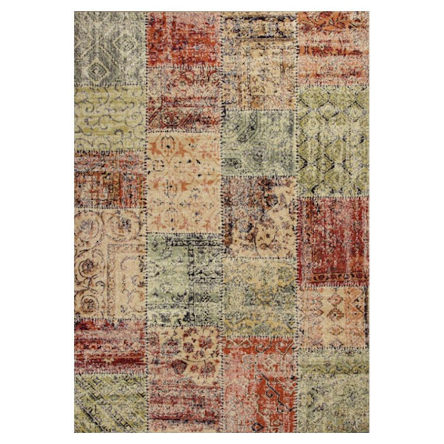 KAS Rugs Gorgeous Transitions Multicolor Rectangular Indoor Woven Distressed Area Rug (Common: 7 x 10; Actual: 79-in W x 114-in L x 0-ft Dia)