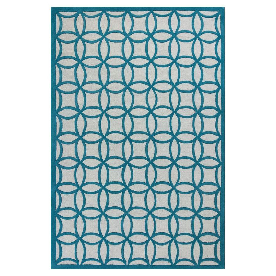 KAS Rugs Playful Patterns Blue Rectangular Indoor Tufted Area Rug (Common: 10 x 10; Actual: 90-in W x 114-in L)