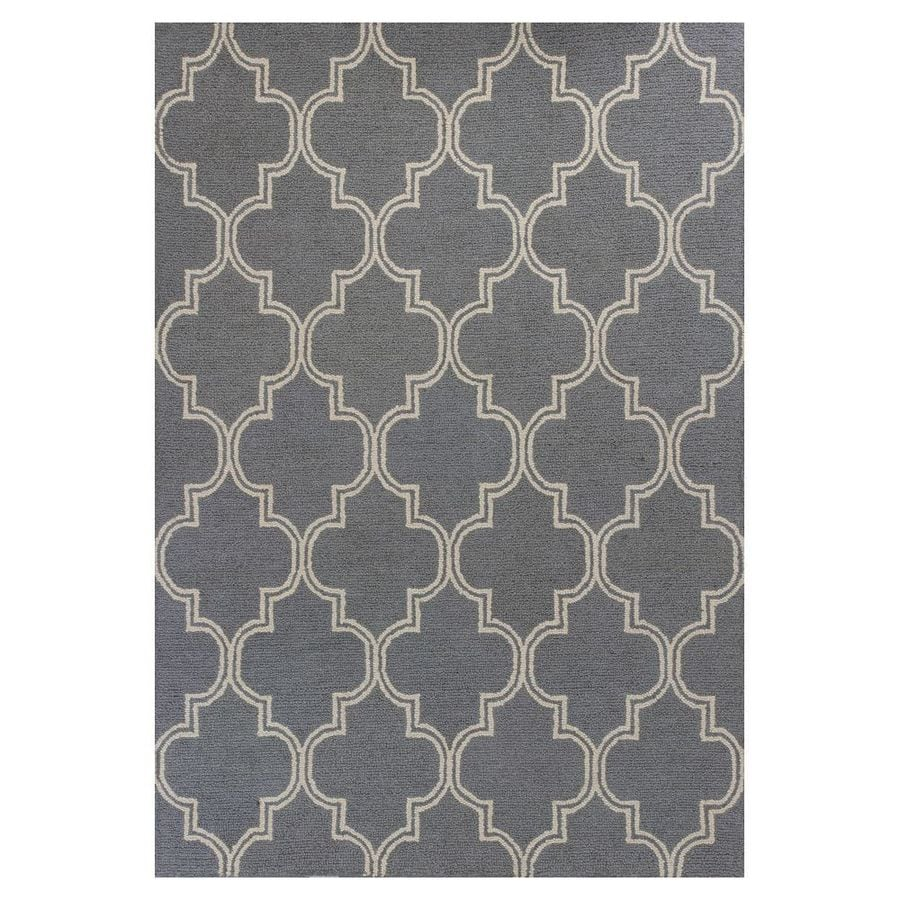 KAS Rugs Everday Gray Rectangular Indoor Hand-Hooked Throw Rug (Common: 3 x 5; Actual: 39-in W x 63-in L x 0-ft Dia)