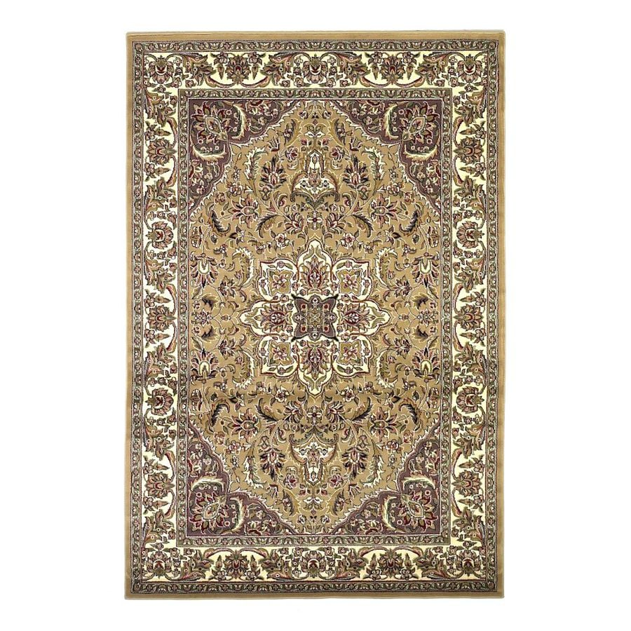 KAS Rugs Medallion Rectangular Cream Transitional Woven Accent Rug (Common: 3-ft x 5-ft; Actual: 39-in x 59-in)