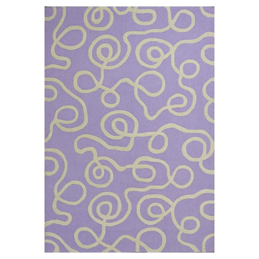 KAS Rugs Playful Patterns Purple Rectangular Indoor Tufted Area Rug (Common: 8 x 10; Actual: 90-in W x 114-in L)