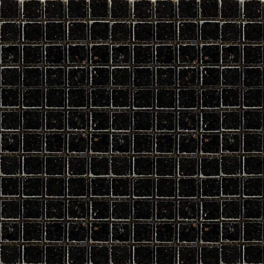 Emser 12-in x 12-in Galaxy Black Square Mount on 1/2-in x 1/2-in Mesh Indoor/Outdoor Natural Granite Floor Tile