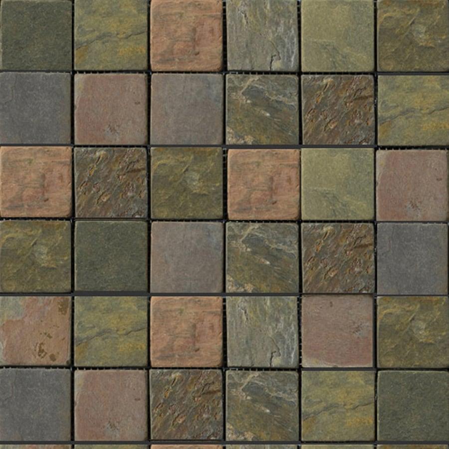 Emser 12-in x 12-in Multi Rajah Mosaic 2-in x 2-in Mesh Natural Slate Floor Tile