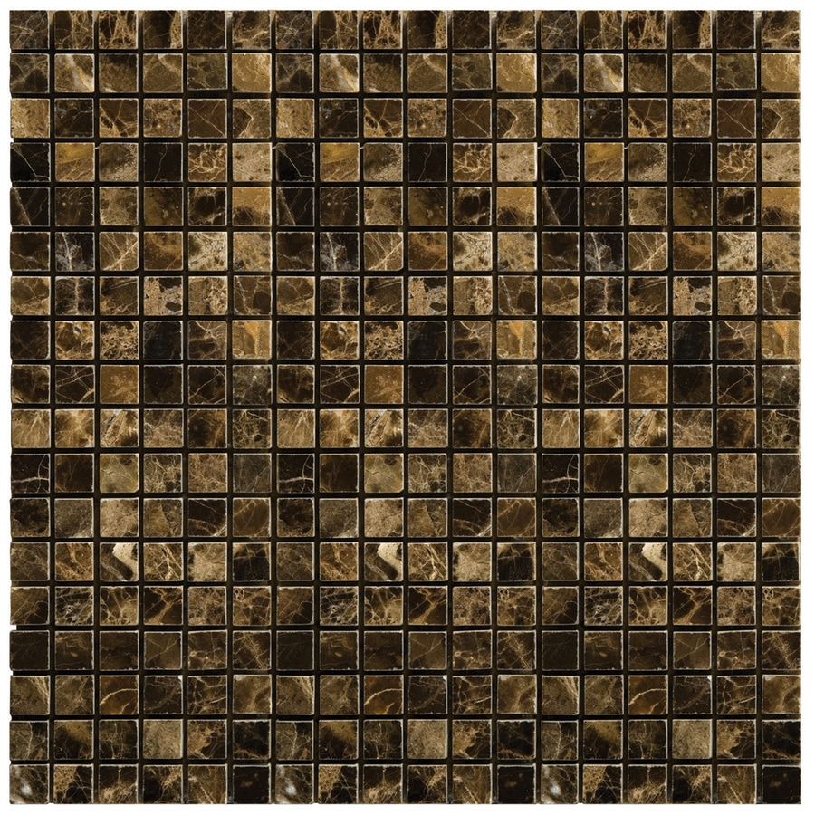 Emser 12-in x 12-in Marrone Emperador Dark Square Mount 1/2-in x 1/2-in Mesh Natural Marble Floor Tile
